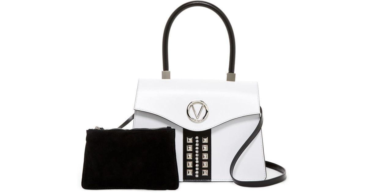 abc8edb78f4 Lyst - Valentino By Mario Valentino Melanie Sve White Black Leather Satchel  in Black