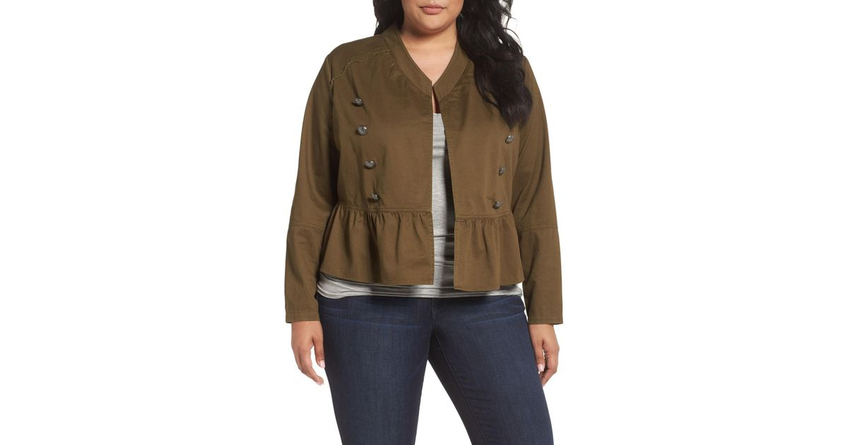 5c935d64f2f Lyst - Sejour Military Peplum Jacket (plus Size) in Green
