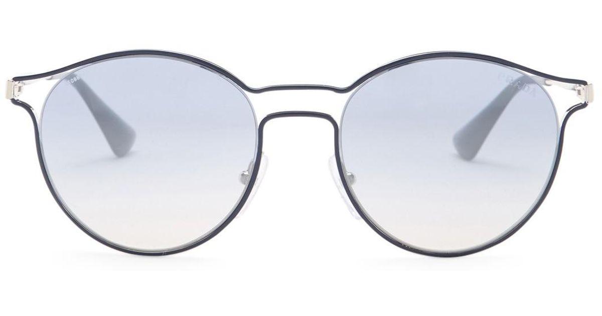 1ce971a9c4b ... new zealand lyst prada womens cinema round metal frame sunglasses in  metallic a3394 d2525