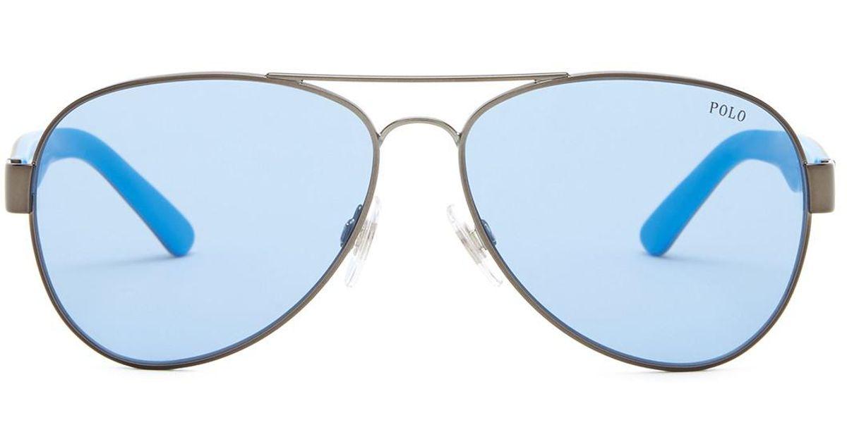Lyst - Polo Ralph Lauren Women s Pilot Sunglasses in Blue 0d095885f2