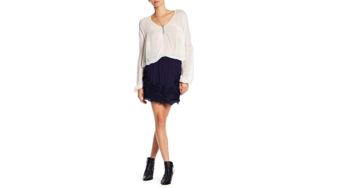Lyst blush noir knit crochet lace applique mini skirt in blue