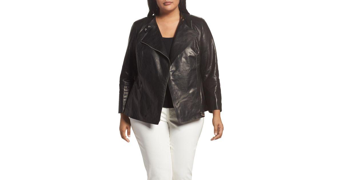 b66609dc5d0 Lyst - Lafayette 148 New York Presley Moto Leather Jacket (plus Size) in  Black