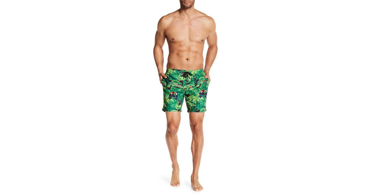 de67f3cd47 Franks Tropical Print Mid Length Swim Trunks in Green for Men - Lyst