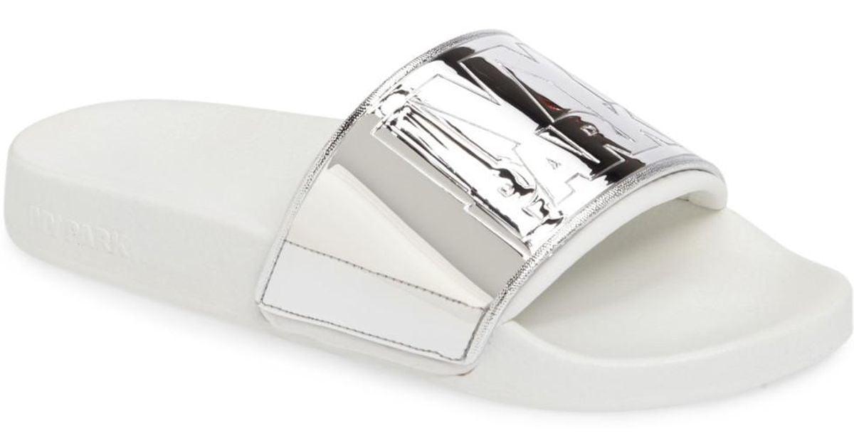 55b51f823142 Lyst - Ivy Park Mirror Logo Slide Sandal in White
