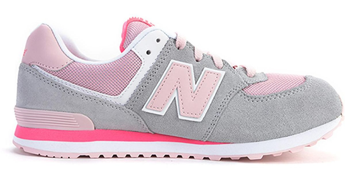new balance kl574scg grey / pink / white