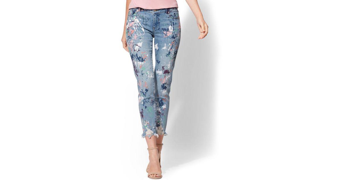 f945e50d1520 Lyst - New York   Company Destroyed Paint-splattered Boyfriend Jeans - Soho  Jeans in Blue