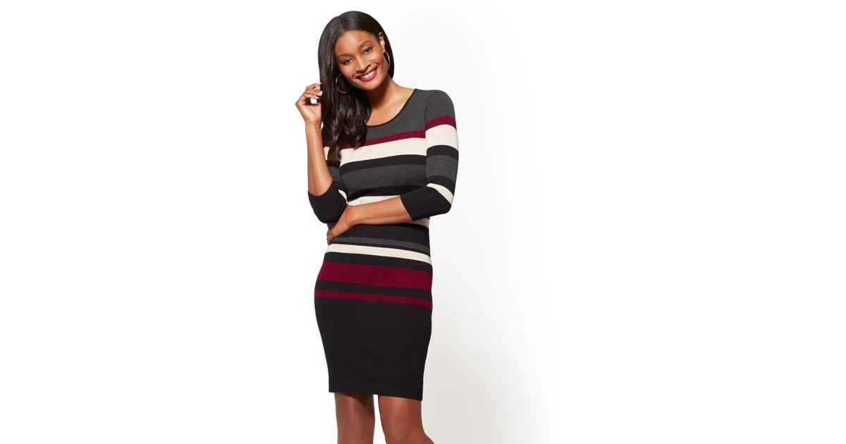 cac7e937e4a New York & Company - Multicolor Striped Scoopneck Sweater Dress - Lyst