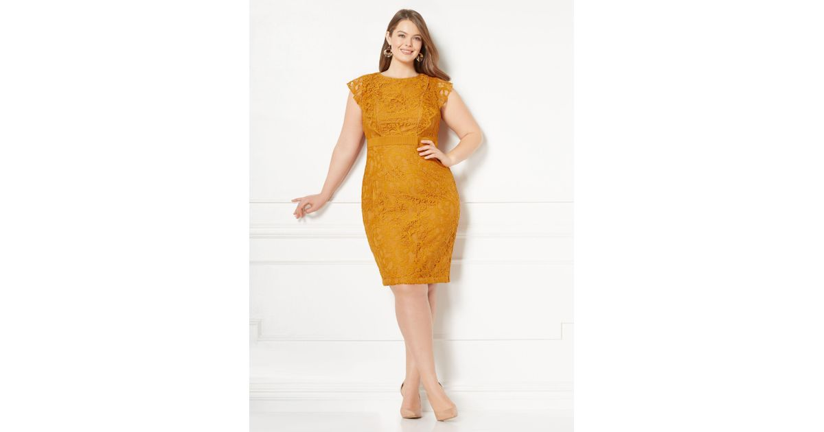 58e585fe New York & Company Eva Mendes Collection - Roxanna Lace Sheath Dress - Plus  in Yellow - Lyst