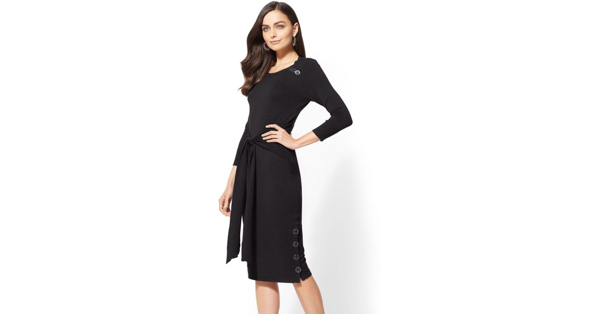ca9b560ac12 Lyst - New York   Company Button-accent Tie-front Sweater Dress in Black
