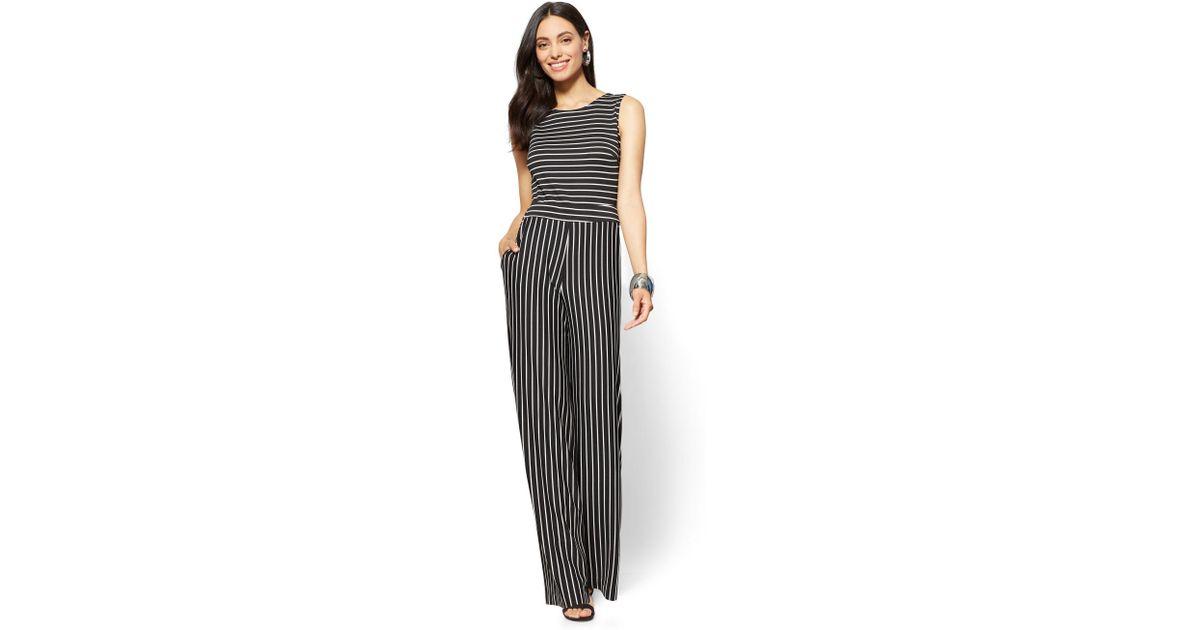 Lyst New York Company Sleeveless Tie Back Jumpsuit Stripe In Black