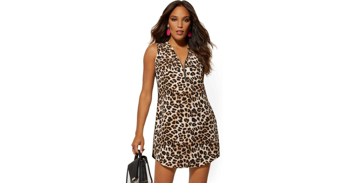 2e6b5683f4 New York & Company Leopard-print Zip-front Shirt Dress in Black - Lyst