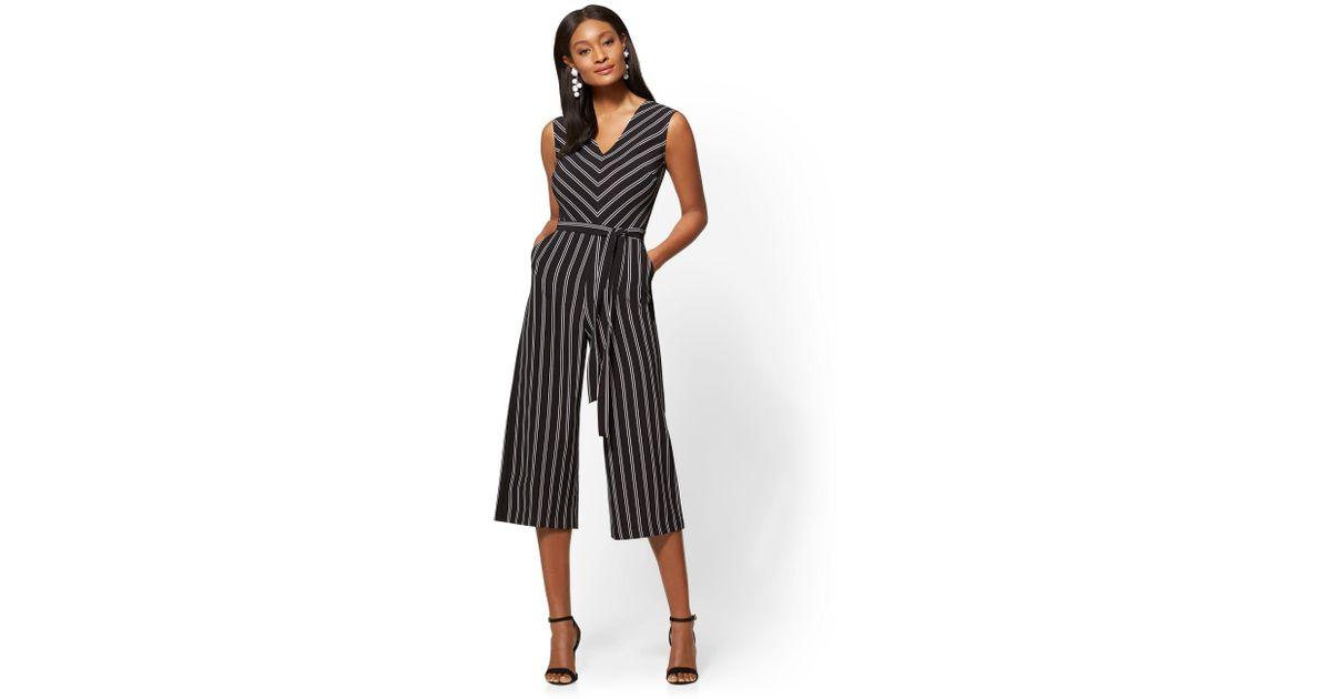 55ec04c94cf Lyst - New York   Company 7th Avenue - Striped V-neck Culotte Jumpsuit in  Black