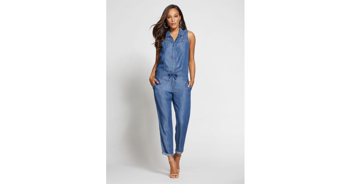 0f558559c05f Lyst - New York   Company Ultra-soft Chambray Jumpsuit - Gabrielle Union  Collection in Blue - Save 51%