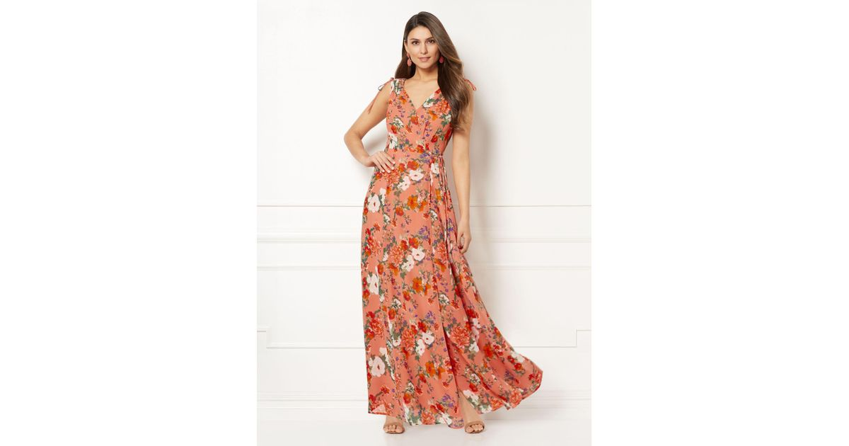 d512c4d54aabc Lyst - New York   Company Eva Mendes Collection - Allegra Floral Wrap Maxi  Dress in Orange
