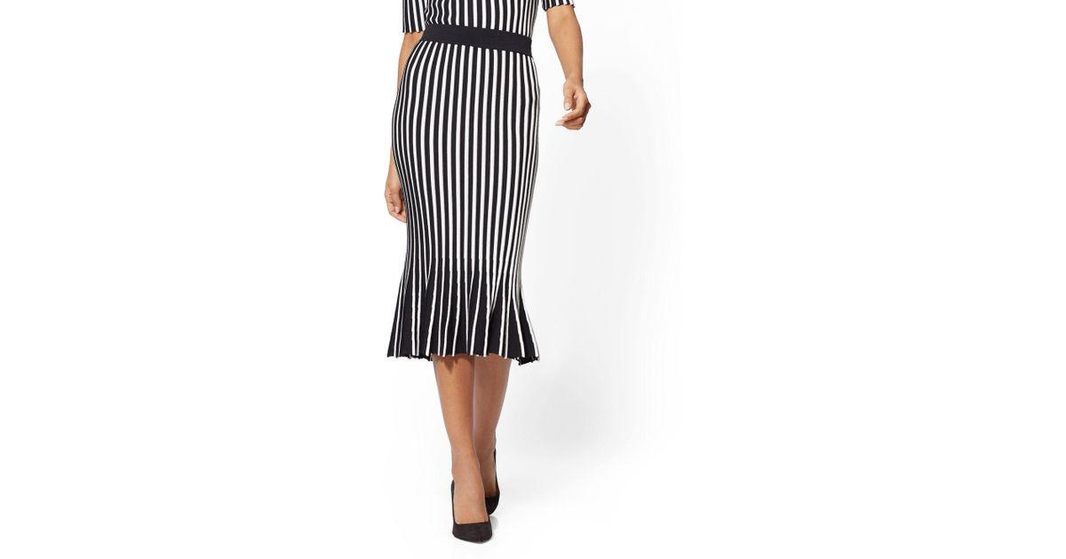 9bf60b347ba Lyst - New York   Company 7th Avenue - Stripe Pleated Sweater Skirt in Black