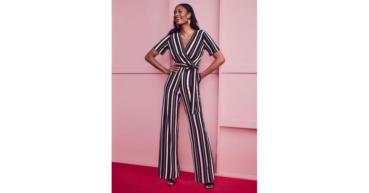 4f4d405facc Lyst - New York   Company Black Wrap Jumpsuit - Stripe in Black