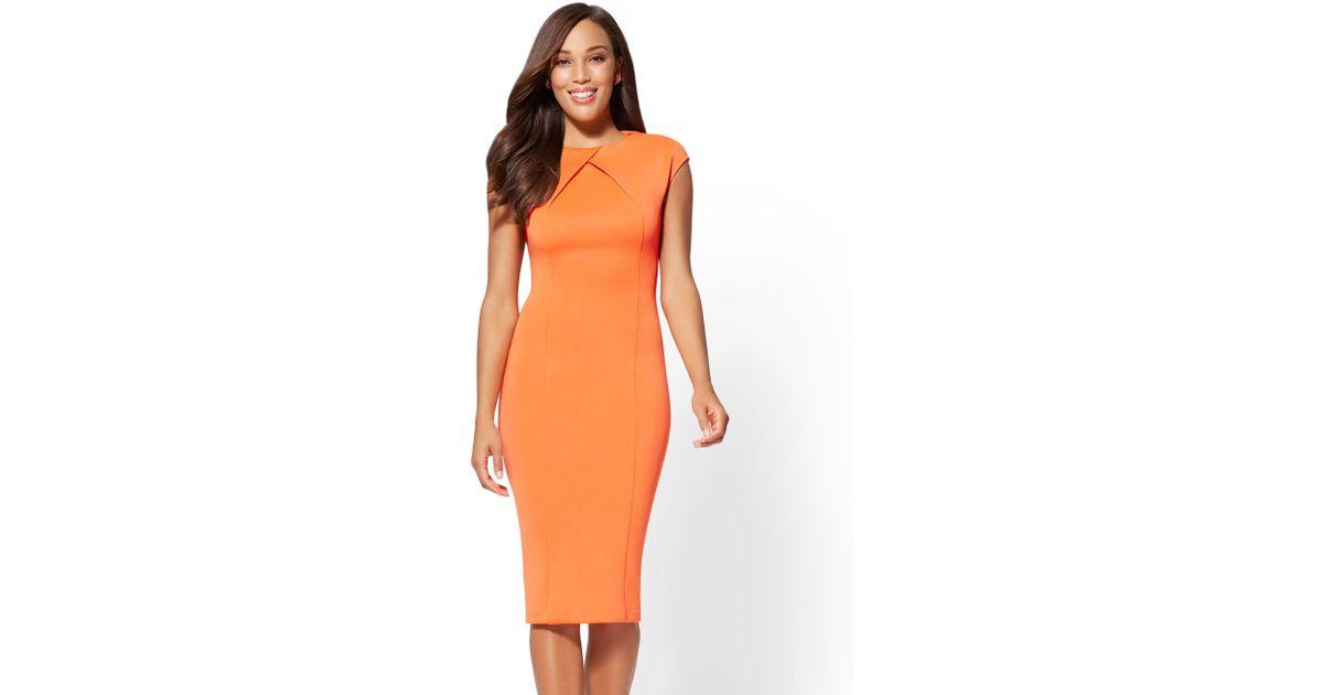 27bf168e Lyst - New York & Company 7th Avenue - Tall Pleated Sheath Dress in Orange