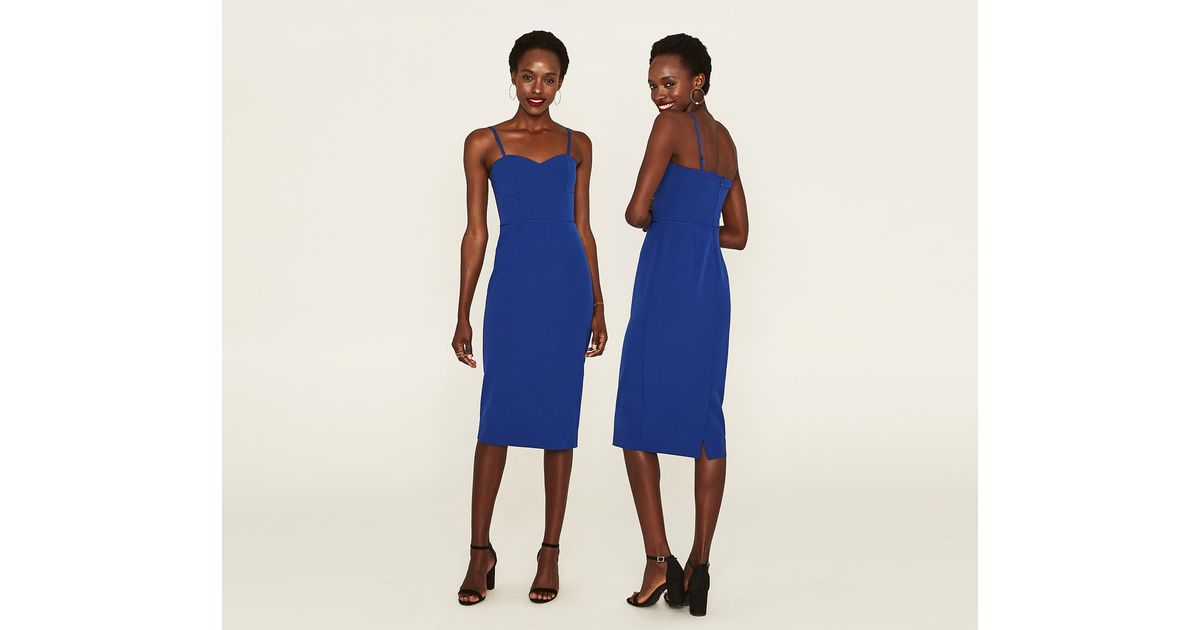Lyst Oasis Corset Pencil Dress In Blue