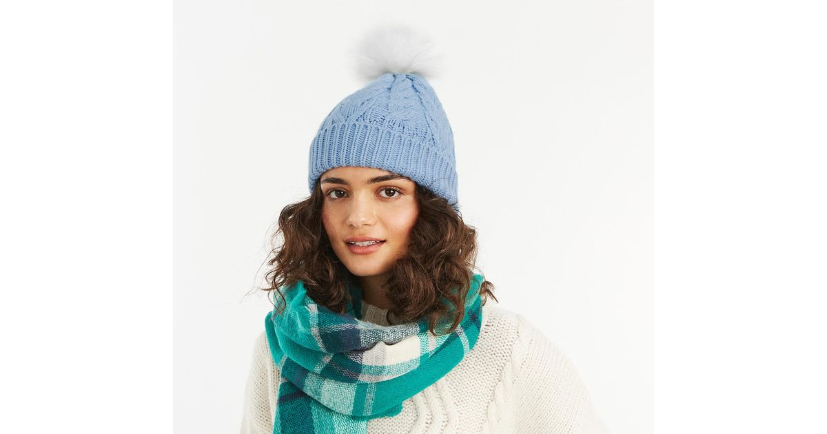 bc468b83a1e Lyst - Oasis Mid Blue  cassie  Cable Pom Beanie in Blue
