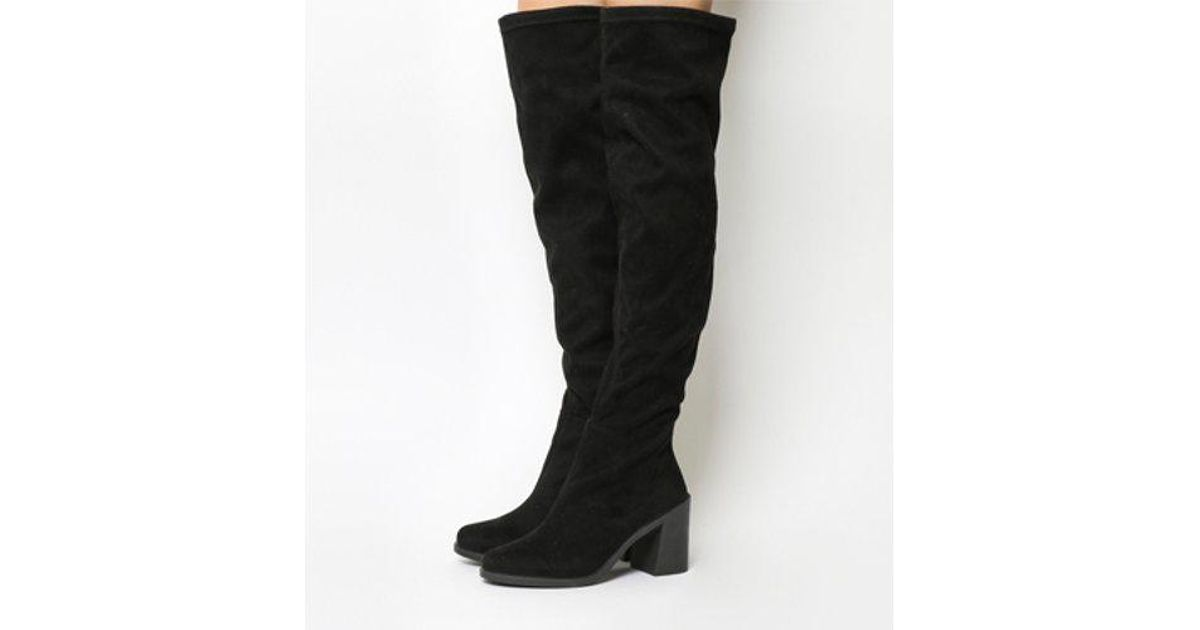 d193f0941aaf Lyst - Office Ethan Flared Heel Over The Knee Boots in Black