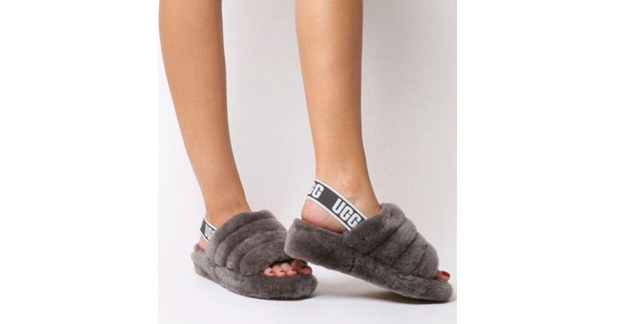 4fc9a3c664f Lyst - UGG Fluff Yeah Sheepskin Slingback Slippers in Gray - Save 37%