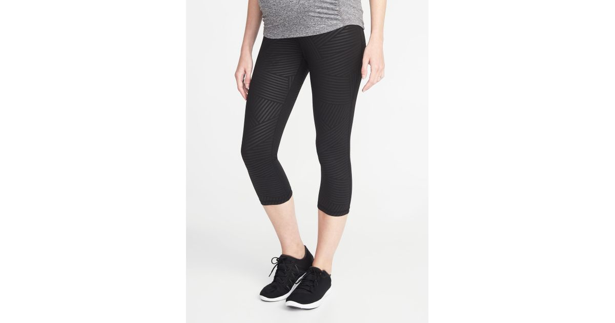 535ce00abc0ea1 Lyst - Old Navy Maternity High-rise Elevate Compression Crops in Black