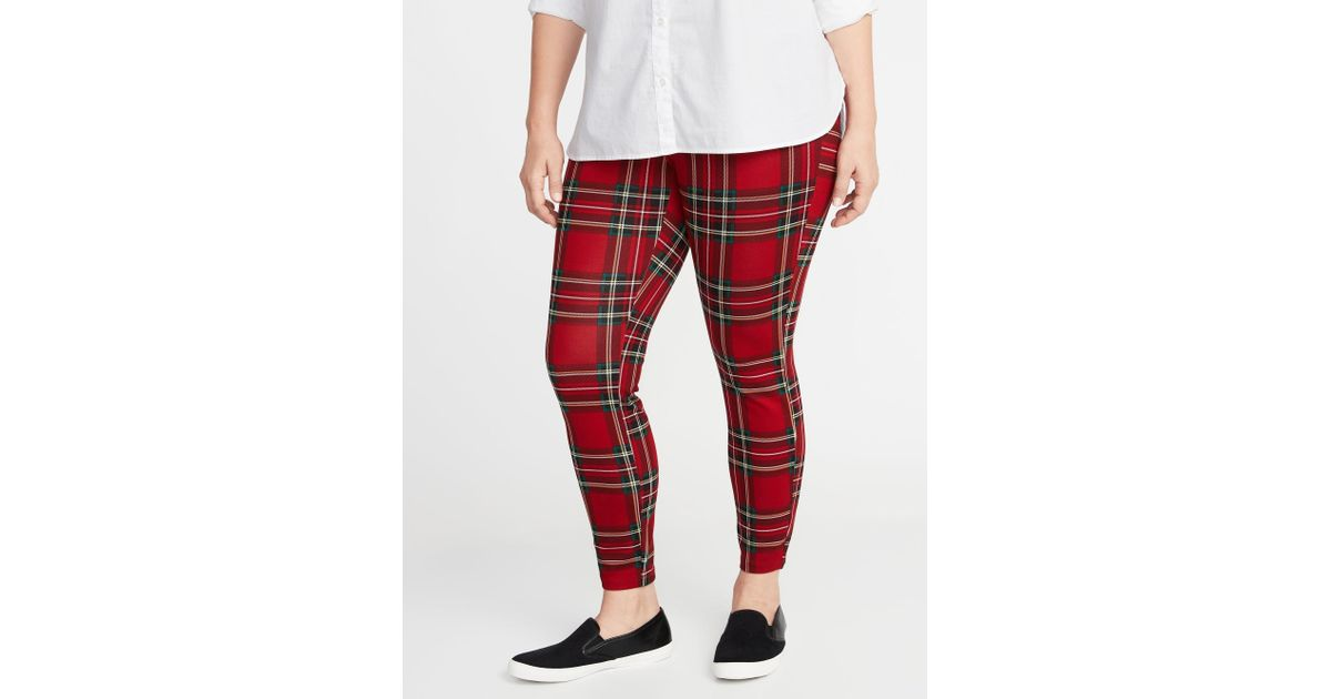 80aef2e4453bb Lyst - Old Navy High-rise Plus-size Ponte-knit Stevie Pants in Red