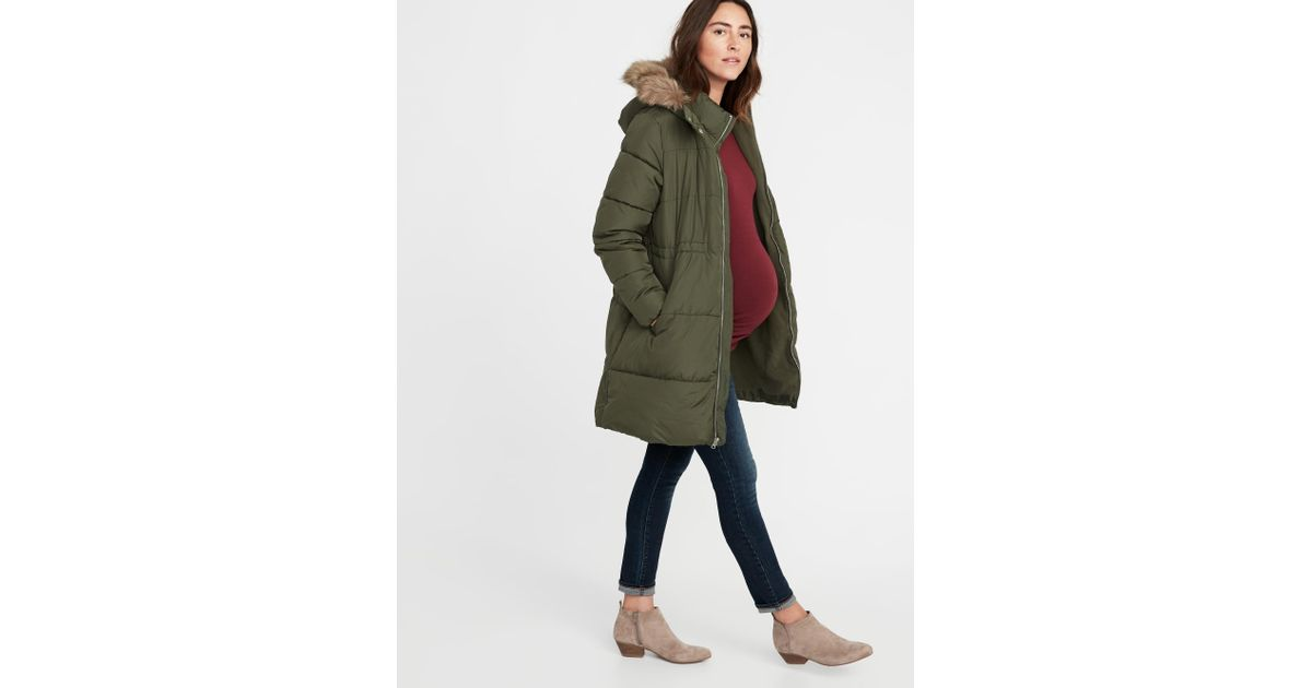 cf67ed4fe41 Lyst - Old Navy Maternity Long-line Hooded Frost-free Puffer Jacket in Green