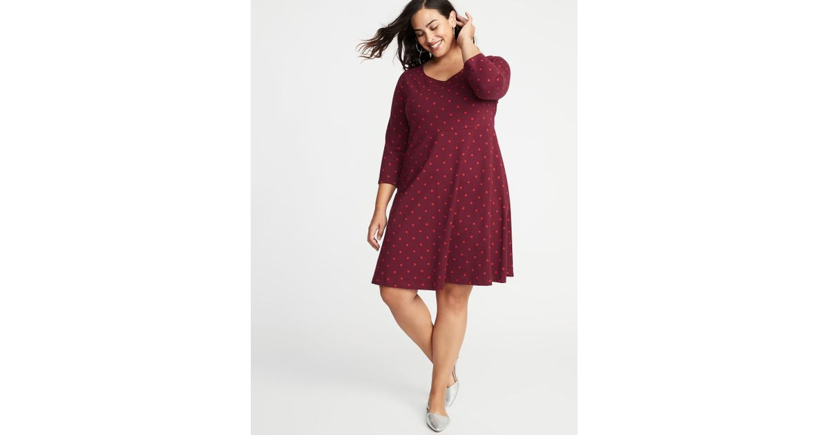 9057b46dc41 Lyst - Old Navy Fit   Flare Plus-size Scoop-neck Dress in Red