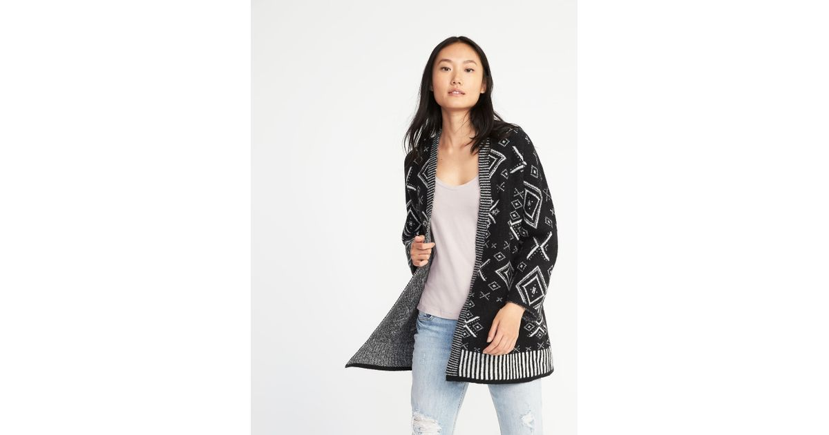 5b382eb7e6304 Lyst - Old Navy Patterned Open Front Cardi-coat in Black