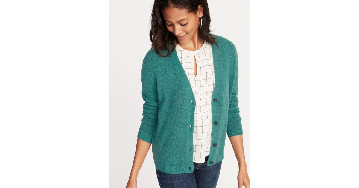 4c62e74508761c Old Navy Slouchy Soft-brushed V-neck Cardi in Green - Lyst