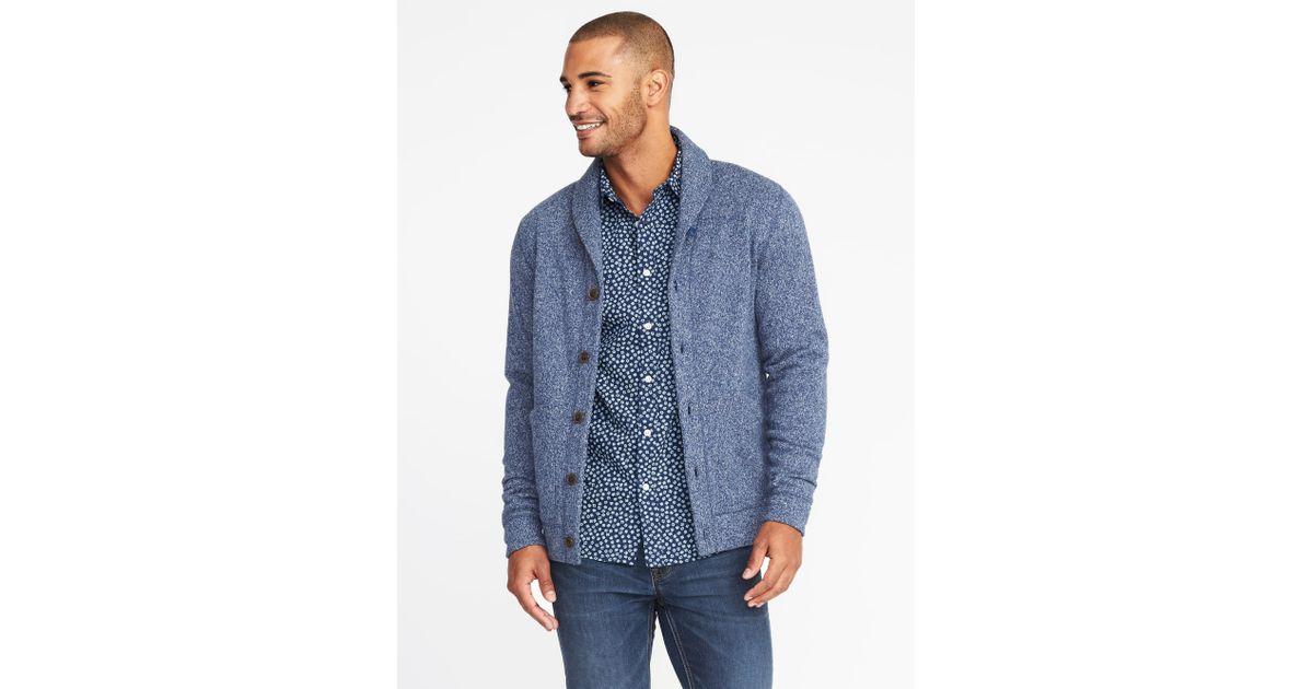 915925686c7 Lyst - Old Navy Shawl-collar Sweater-knit Fleece Cardigan in Blue for Men