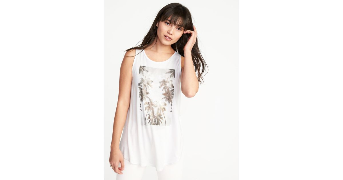97341de72807c6 Lyst - Old Navy Graphic High-neck Swing Tank in White