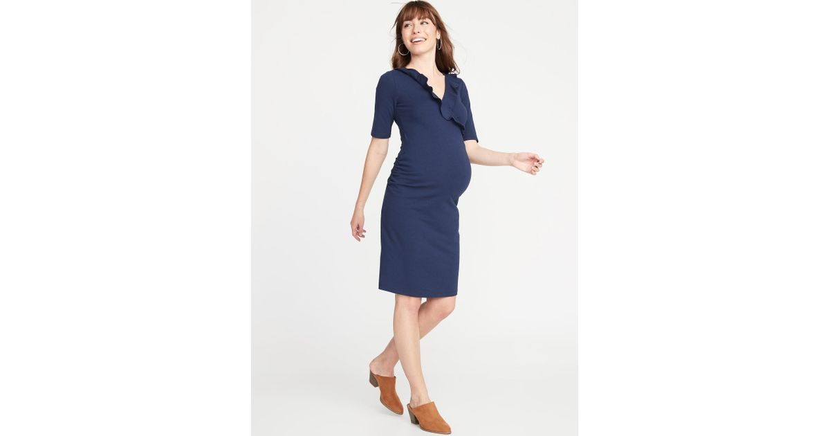 2ef6a627bc5 Lyst - Old Navy Maternity Ruffled Surplice Bodycon Dress in Blue
