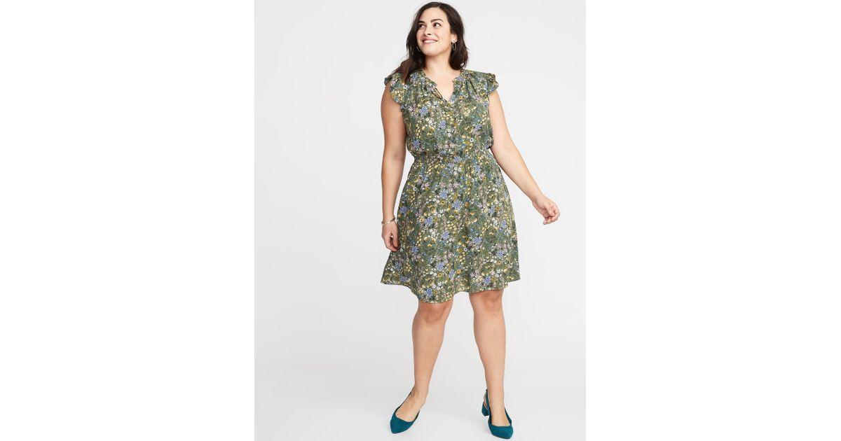 7b48198dcb4817 Lyst - Old Navy Waist-defined Flutter-sleeve Plus-size Dress in Green