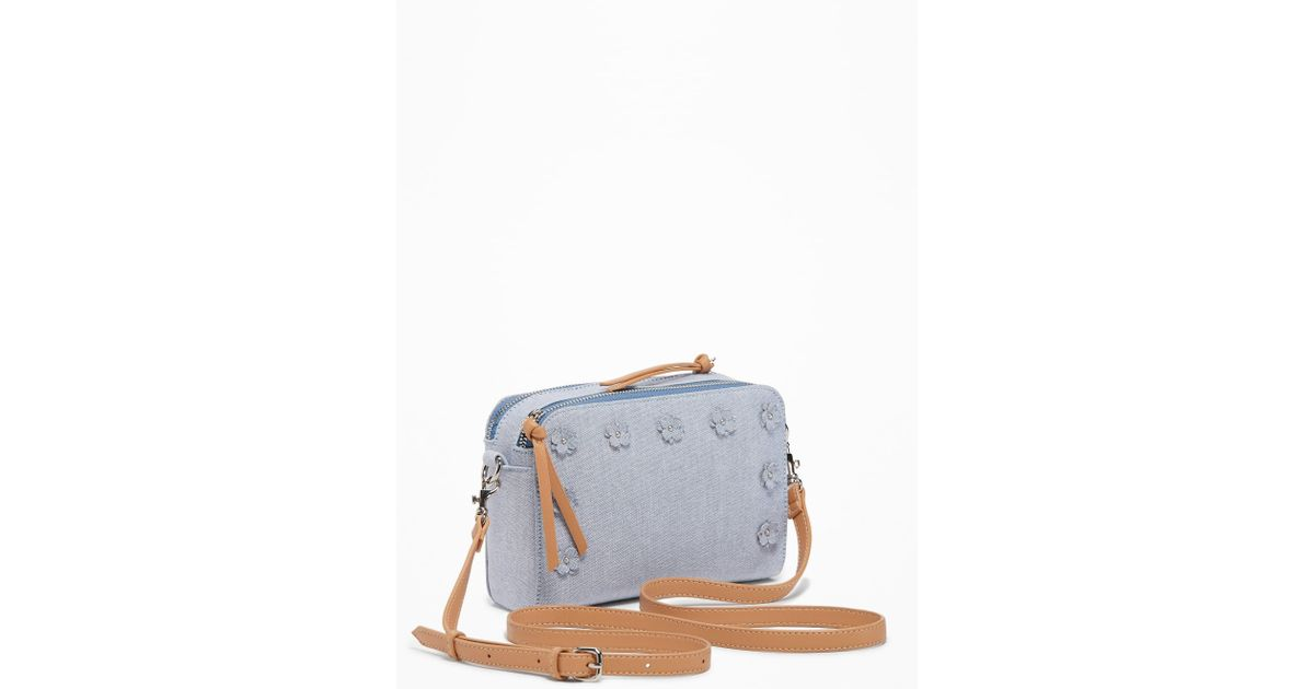 Lyst old navy chambray flower applique camera bag in blue