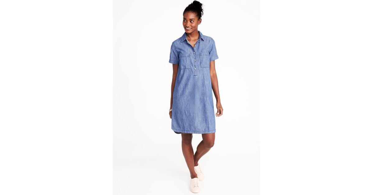 69751a0f5c0 Old Navy Chambray Shirt Dress in Blue - Lyst