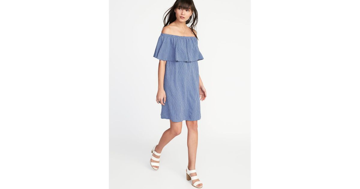 54e0c8c87ff2 Lyst - Old Navy Off-the-shoulder Linen-blend Shift Dress in Blue