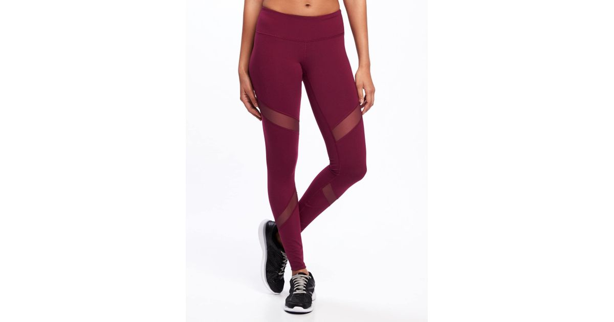 67db9c0b94 Old Navy Mid-rise Mesh-panel Elevate Compression Leggings in Red - Lyst