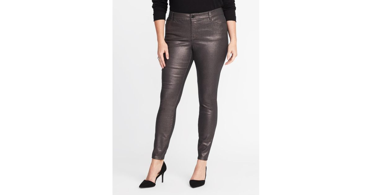 aee0d06c2dee Lyst - Old Navy High-rise Secret-slim Pockets Plus-size Metallic Rockstar  Jeans in Black