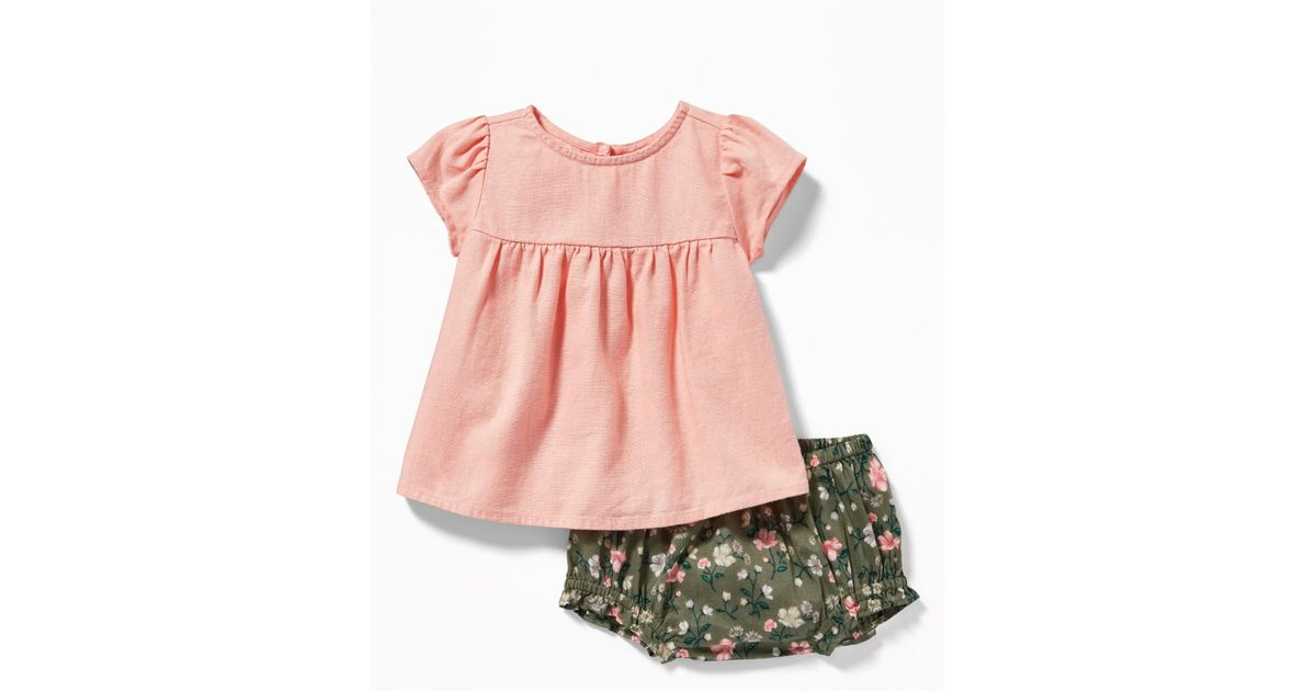 8cd8067d4 Lyst - Old Navy Linen-blend Top & Bloomers Set in Pink