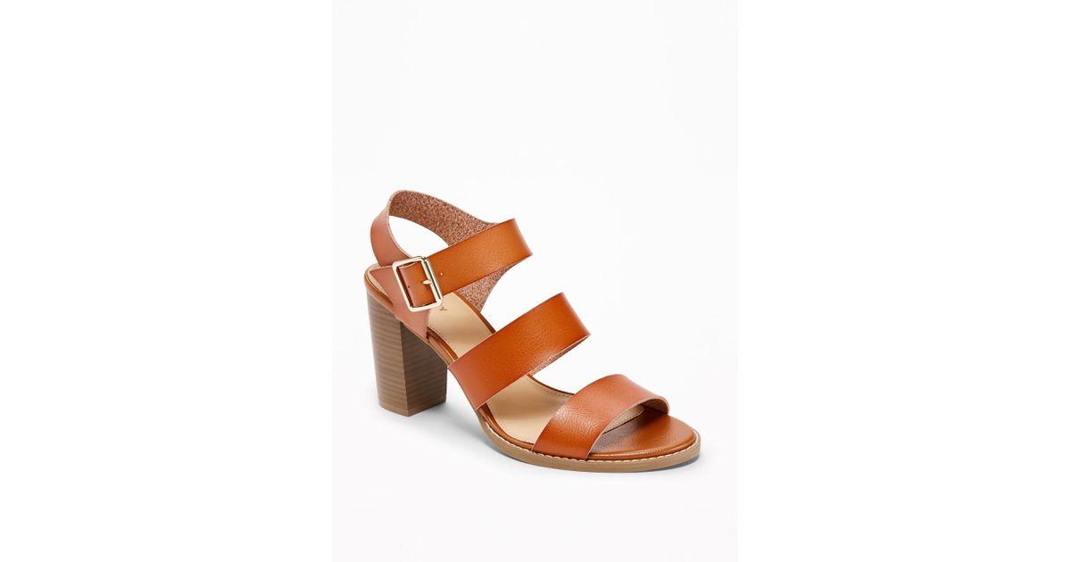 f5c89b5c60c4 Lyst - Old Navy Three-strap Block-heel Sandals in Brown
