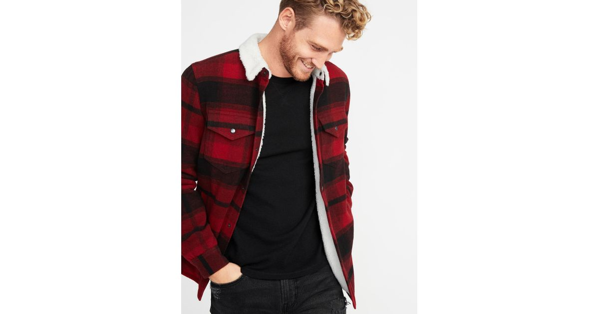 0cd806d69 Lyst - Old Navy Plaid Wool-blend Sherpa-lined Shirt Jacket in Red ...