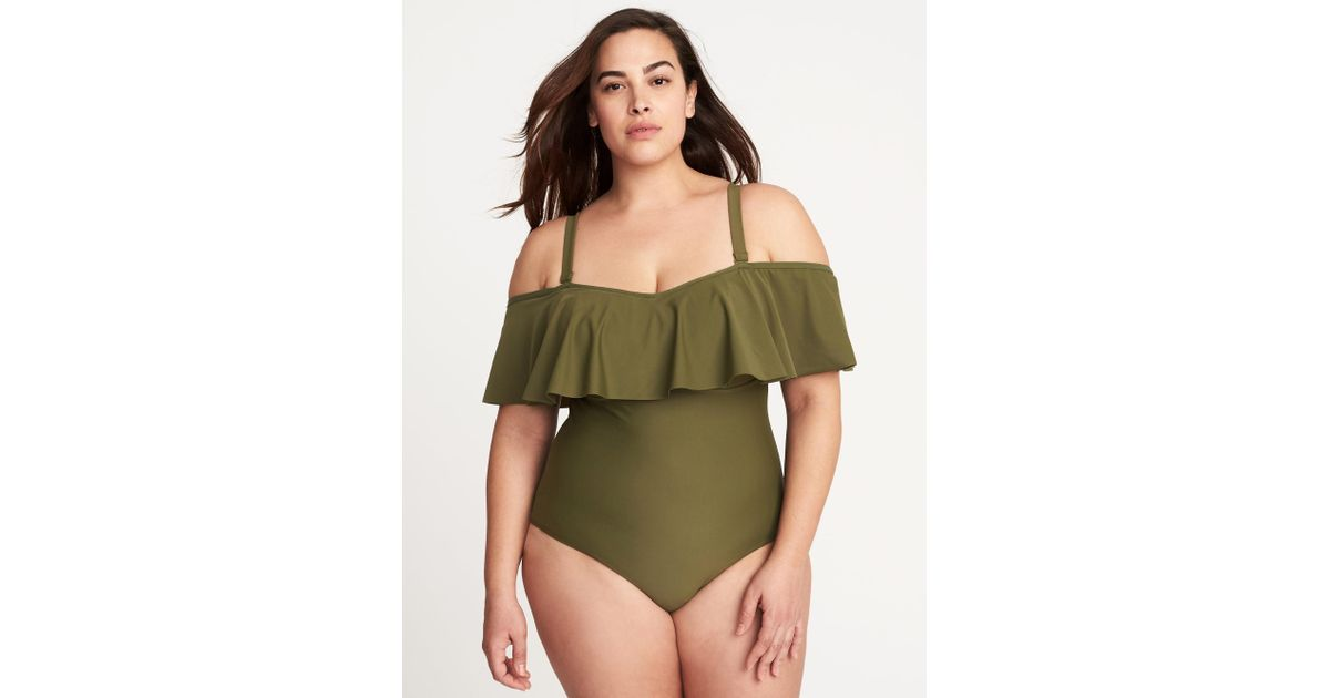 f50da0ad97a8e Old Navy Plus-size Ruffled Off-the-shoulder Swimsuit in Green - Lyst