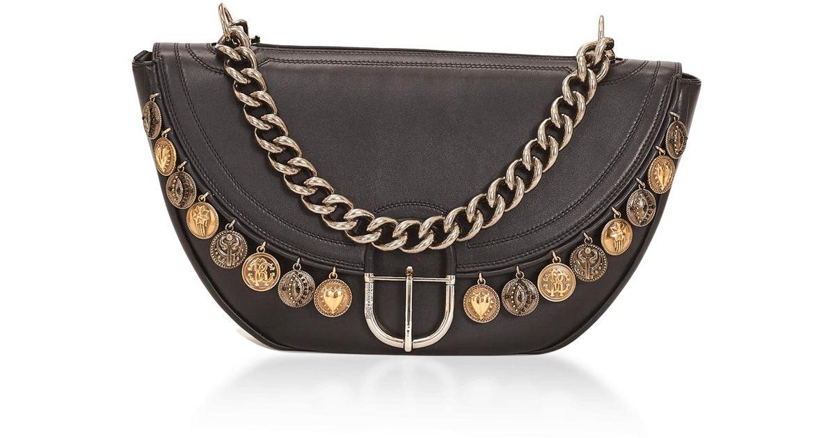 78251d415bd Lyst - Roberto Cavalli Coins Leather Shoulder Bag in Black