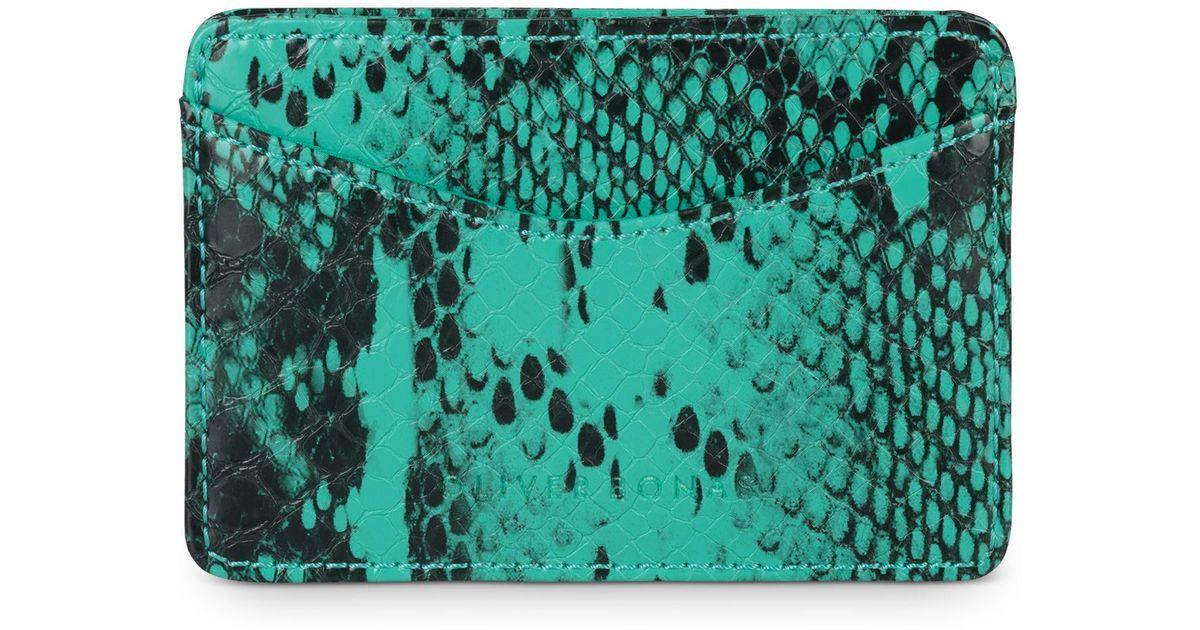 de339fcd8c80 Lyst - Oliver Bonas Snake Print Green Card Holder in Black