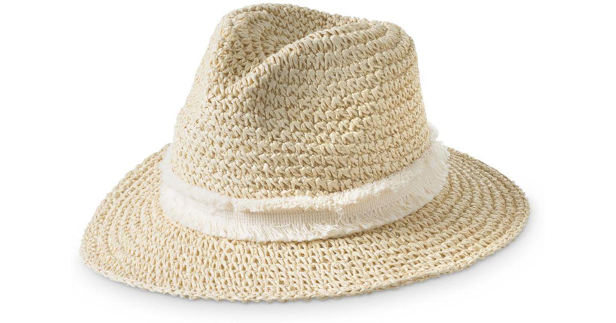 Lyst Oliver Bonas Nevah Crochet Fedora Hat In White