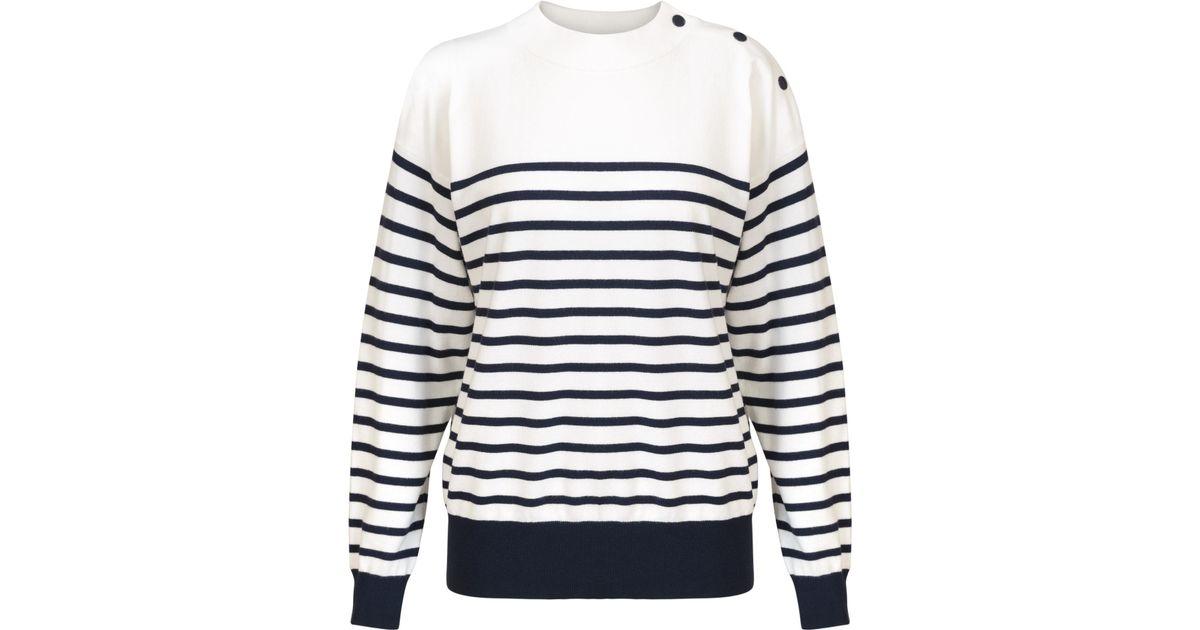 046ba5a5a3 Lyst - Oliver Bonas Jaimee Breton Navy   White Sweater in Blue