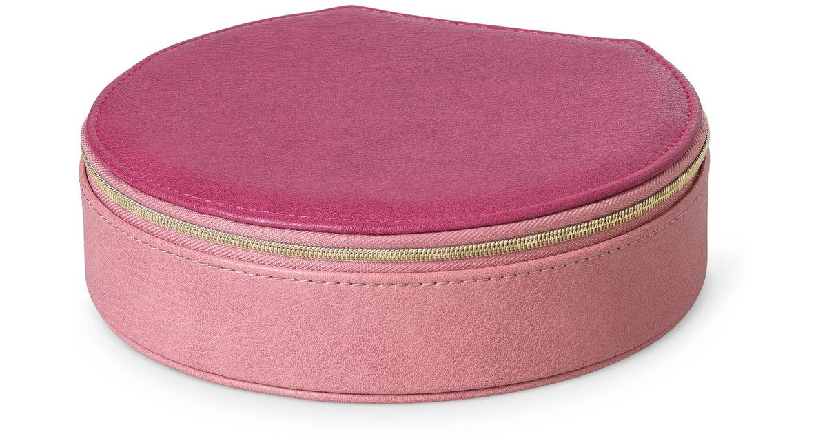 Oliver Bonas Nellie Pink Round Travel Jewelry Box Large Lyst