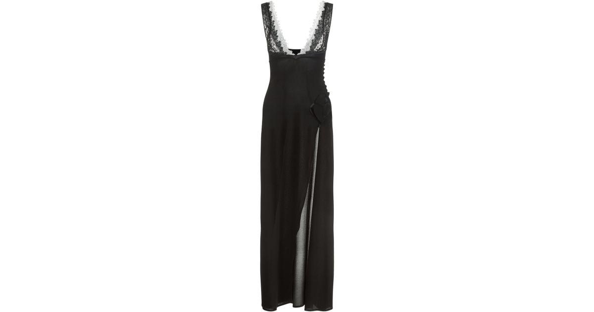 35e516732 Lyst - La Perla Macrame  Poem Black Floor Length Nightdress in Black